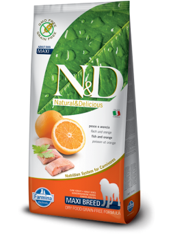 FARMINA N&D GRAIN FREE ADULT MAXI - Pesce e Arancia