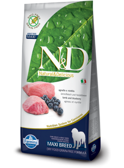 FARMINA N&D GRAIN FREE ADULT MAXI - Agnello e Mirtillo