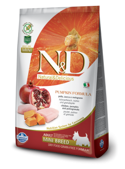 FARMINA N&D GRAIN FREE PUMPKIN ADULT MINI - Pollo, Zucca e Melograno