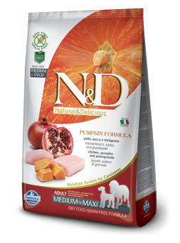 FARMINA N&D GRAIN FREE PUMPKIN ADULT MEDIUM&MAXI - Pollo, Zucca e Melograno