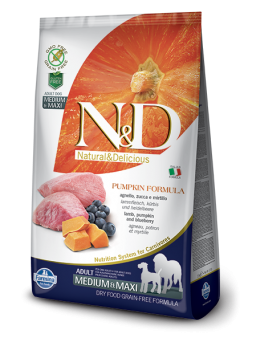 FARMINA N&D GRAIN FREE PUMPKIN ADULT MEDIUM&MAXI - Agnello, Zucca e Mirtillo