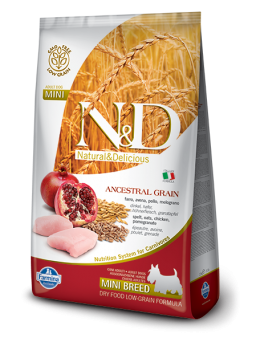 FARMINA N&D LOW GRAIN ADULT MINI - Farro, Avena, Pollo e Melograno