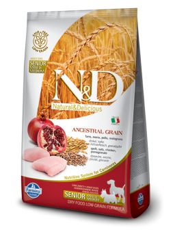 FARMINA N&D LOW GRAIN ADULT SENIOR MINI&MEDIUM - Farro, Avena, Pollo e Melograno