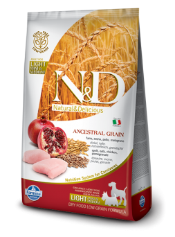 FARMINA N&D LOW GRAIN ADULT LIGHT MINI&MEDIUM - Farro, Avena, Pollo e Melograno