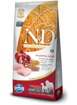 FARMINA N&D LOW GRAIN ADULT LIGHT MEDIUM&MAXI - Farro, Avena, Pollo e Melograno