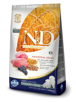 FARMINA N&D LOW GRAIN PUPPY MEDIUM&MAXI - Farro, Avena, Agnello, Mirtillo