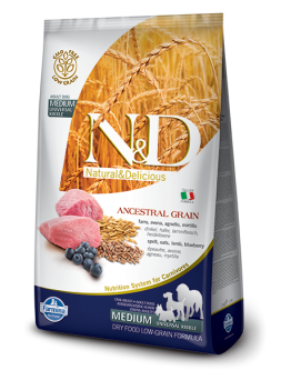 FARMINA N&D LOW GRAIN ADULT MEDIUM - Farro, Avena, Agnello, Mirtillo
