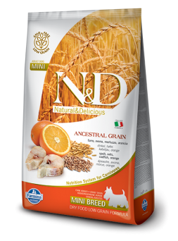 FARMINA N&D LOW GRAIN ADULT MINI - Farro, Avena, Merluzzo, Arancia