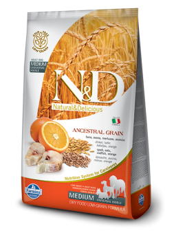 FARMINA N&D LOW GRAIN ADULT MEDIUM - Farro, Avena, Merluzzo, Arancia