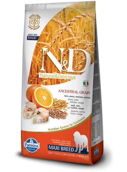 FARMINA N&D LOW GRAIN ADULT MAXI - Farro, Avena, Merluzzo, Arancia