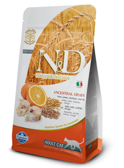 FARMINA N&D FELINE LOW GRAIN ADULT - Farro, Avena, Merluzzo e Arancia
